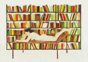 02-Las-derivas-de-Oriana. Lectura. Acuarela sobre papel, 30 x 42 cm, 2009. jpg