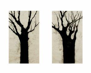 04 Cuando estaba allá, 200x120cm cada uno, carbón sobre papel amate, montados sobre bastidor, 2004