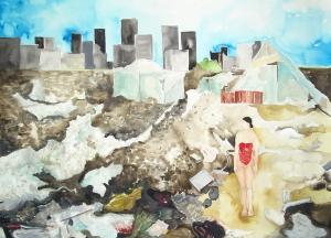 04 Serie Las derivas de Oriana, frente a la obra de David Goldblatt. Acuarela sobre papel, 100 x80cm