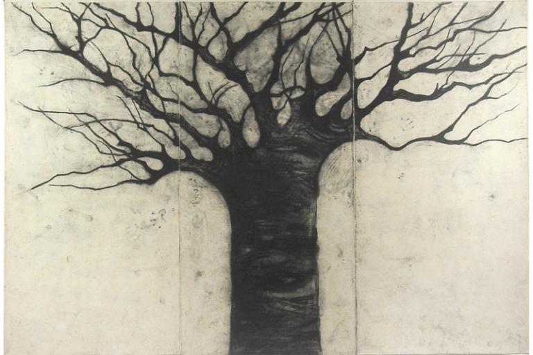 06 Mónica Dower, Quién me habita, 240 x360 cm, carbón sobre papel amate entelado.jpg