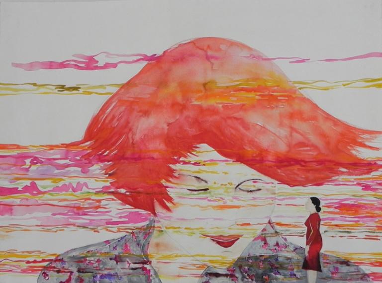 07 Las derivas de Oriana frente al video Seducción de Joel Bartolomeo.Acuarela sobre papel 108 x 80 cm jpg