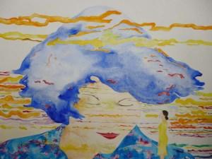 07 Oriana frente al video Sedution de Joel Bartolomeo, acuarela sobre papel, 157 x 98 cm cm