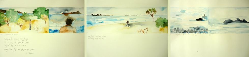 08 Flujos de Manuel de la Ribera. Acuarela sobre papel, 38x144 cm, 2012