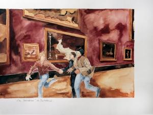 12 Los Soñadores de Bertolucci, fragmento de la primera secuencia, acaurela sobre papel, 36 x48 cm, 2013