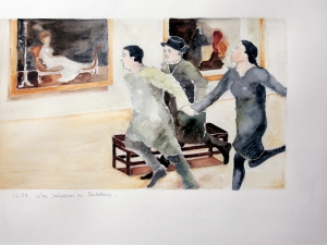 13 Los Soñadores de Bertolucci, segundo fragmento de la secuencia , acuarela sobre papel, 36 x48 cm, 2013
