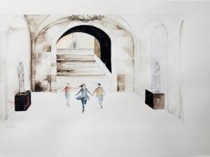 15 Los Soñadores de Bertolucci, tercer fragmento de la secuencia, acuarela sobre papel, 36 x 48 cm 2013