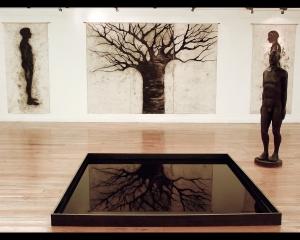 Instalacion Quién me habita, 2004 talla de madera 180x60x40cm dibujos al carbon espejo de agua