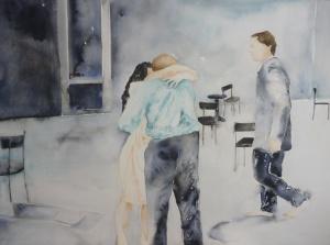 13 Café Mulller de Pina Baush filmado por Wim Wenders escena 3 acuarela sobre papel 75 x100 cm 2013.