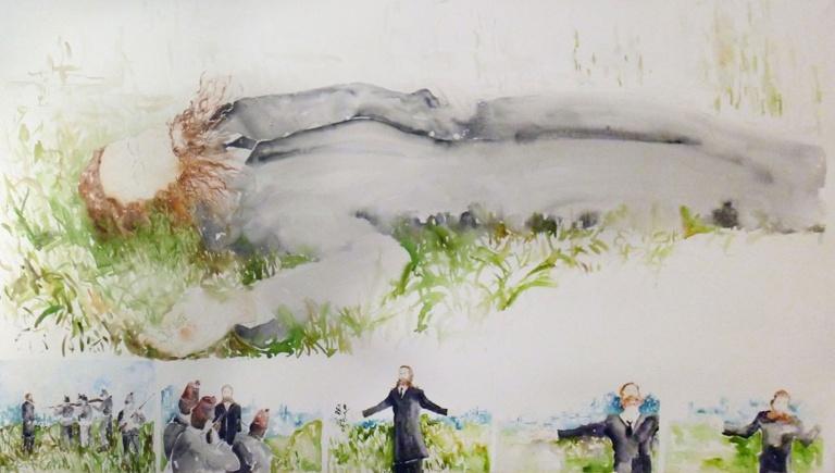 44 Mónica Dower, La pesadilla de Clavé, acuarela sobre papel, 230x120cm, 2012. Obra basada en el vídeo Tiempo sagrado de Enrique Méndez Hoyos, 2012.jpg