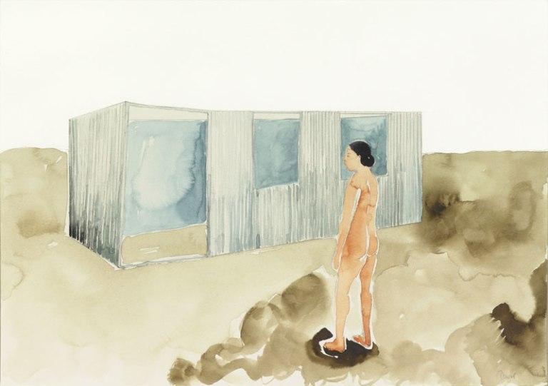 01 Oriana frente a la obra de David Goldblatt, acaurela sobre papel, 36 x48 cm, .jpg