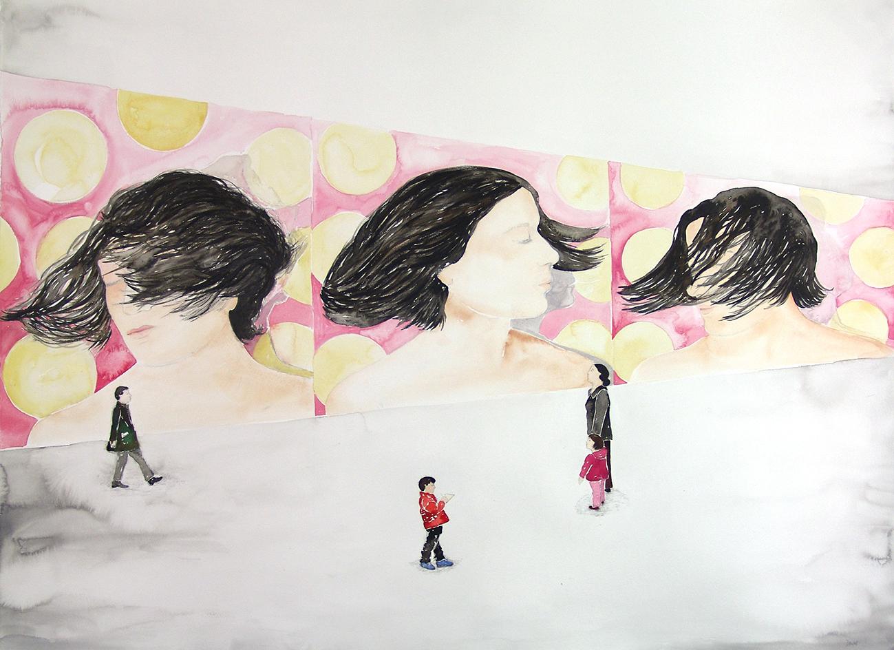 06  Oriana contemplando el video Pájaros en la cabeza de Mónica Dower, acuarela sobre papel, 97 x 120 cm, 2010. .jpg