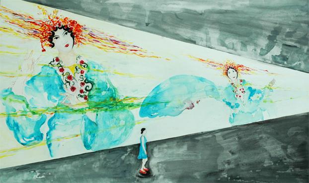 "29 ""Lonely girl"" de Ellen Zweig, acrílico sobre tela, 120 x 200 cm, 2009.jpg"