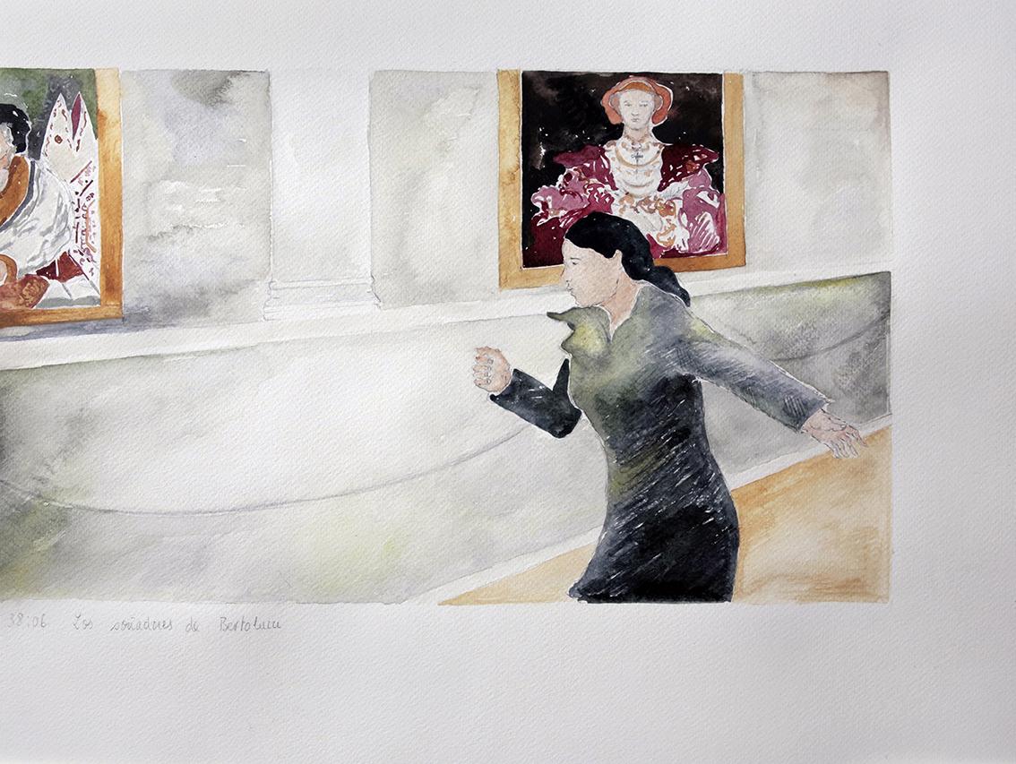 40 Los Soñadores de Bertolucci, cuarta secuencia , acuarela sobre papel, 36 x 48 cm, 2015 .jpg