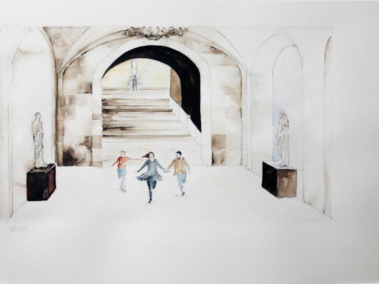 41 Los Soñadores de Bertolucci, quinta secuencia, acuarela sobre papel, 36 x 48 cm 2015.jpg