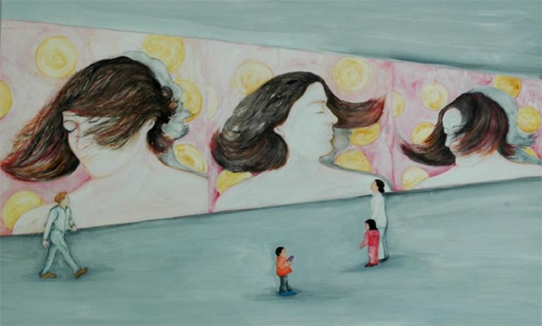 5.Observándose a sí misma en el   video Pájaros en la cabeza, acrílico sobre tela, 120 x 200 cm, 2009.jpg